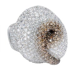 Palmiero Pave White and Brown Diamond Swirl Fashion Ring in 18KT Gold 9.67 Carat