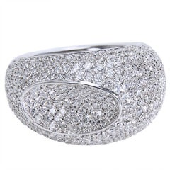 Bucherer Pave Diamond Ring in 18 Karat Gold 3.55 Carat