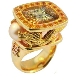 22 Carat Natural Imperial Topaz Dragon Ring