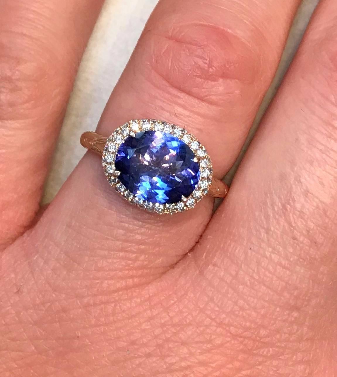 2.08 Carat Tanzanite Halo Ring For Sale at 1stdibs