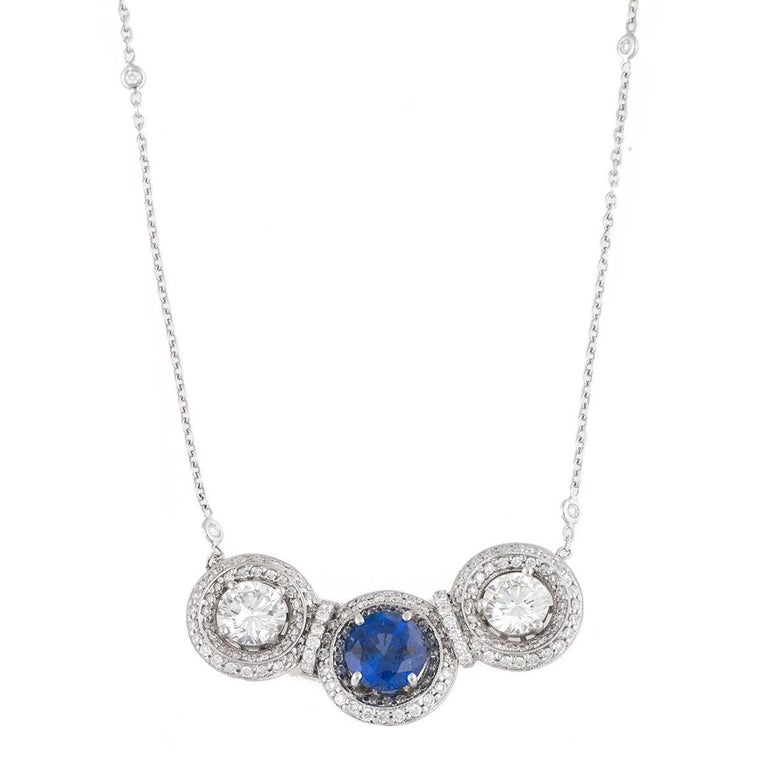 18 Karat Gold Necklace with Sapphire and White Diamond