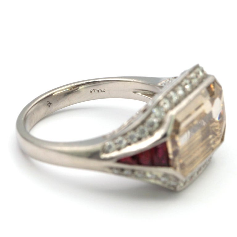 5.00 Carat Emerald Cut Diamond with Rubies in Platinum Ring For Sale 1