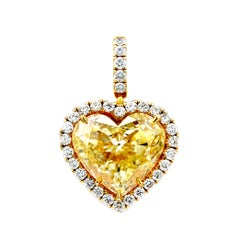 10.03 Carat Heart Shape Natural Yellow Diamond Pendant