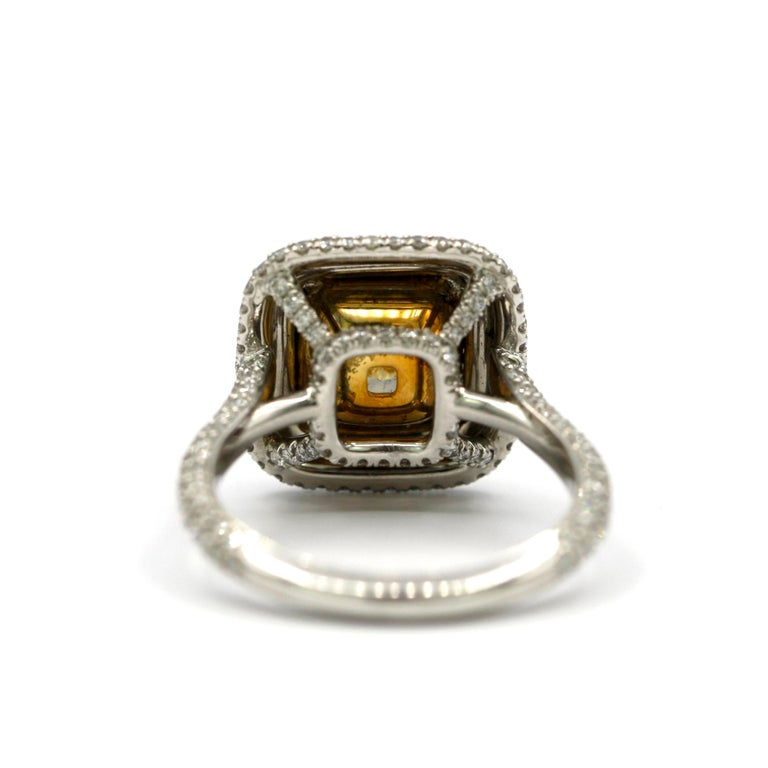 4.25 Carat EGL Fancy Light Yellow Cushion SI1 Diamond with Pave Platinum Ring For Sale 1