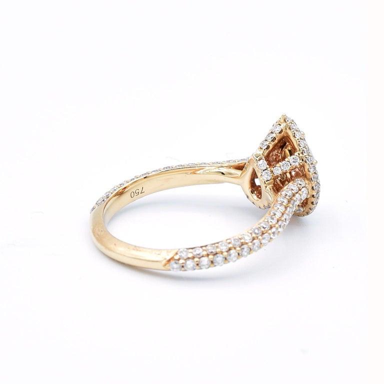 Pear Cut GIA Certified 0.58 Carat Pear Shape Blue Diamond Ring For Sale