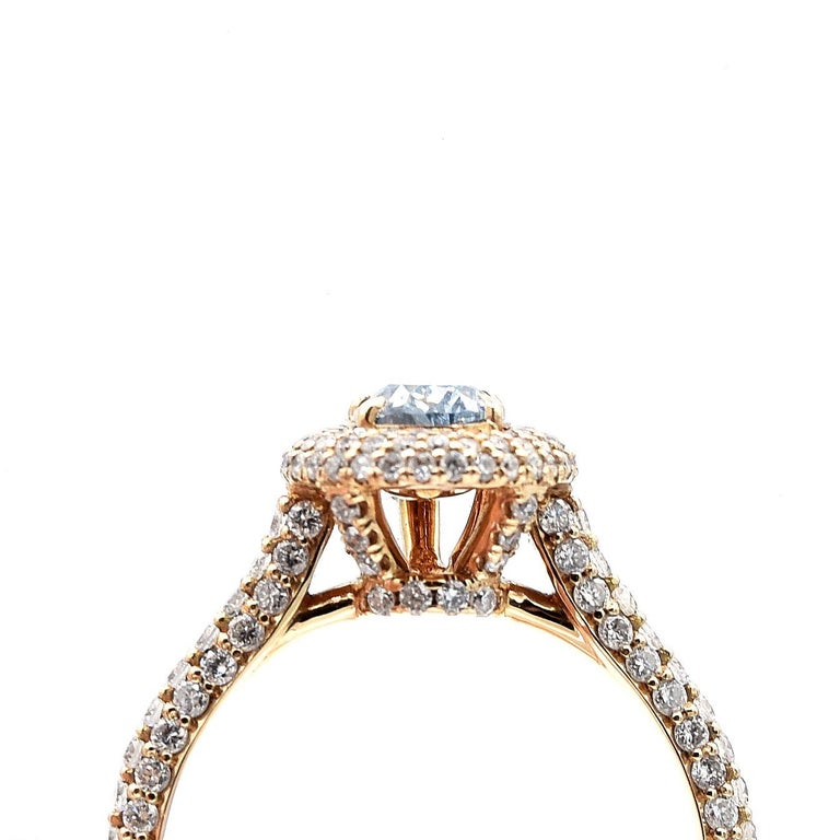GIA Certified 0.58 Carat Pear Shape Blue Diamond Ring In Excellent Condition For Sale In New York, NY