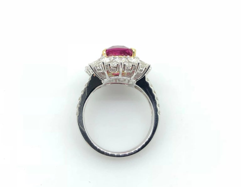 Cushion Cut 7.00 Carat Pink Sapphire Diamond Cluster Cocktail Dress Ring For Sale