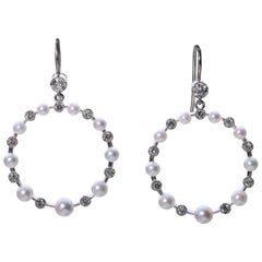 Edwardian Style Pearl and Diamond Hoop 18 Karat White Gold Earrings