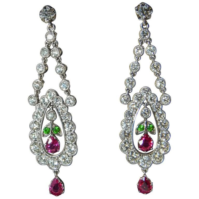 Demantoid Garnet, Burma Ruby and Diamond Eighteen Karat White Gold Drop Earrings