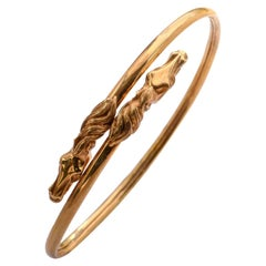 18 Karat Gold Flexible Horse Head Bangle