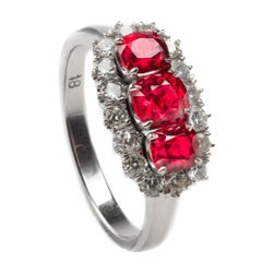 Spinel and Diamond 18 Karat White Gold Ring