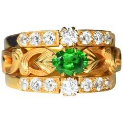 Art Nouveau Style 18 Karat Gold Demantoid Garnet and Diamond Ring