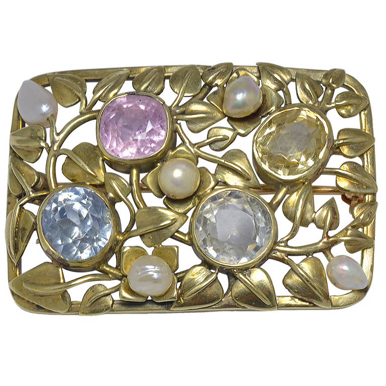 Sapphire Gold Arts and Crafts Pin For Sale