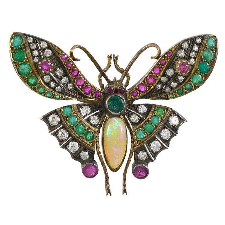 antique jeweled butterfly pin at 1stdibs