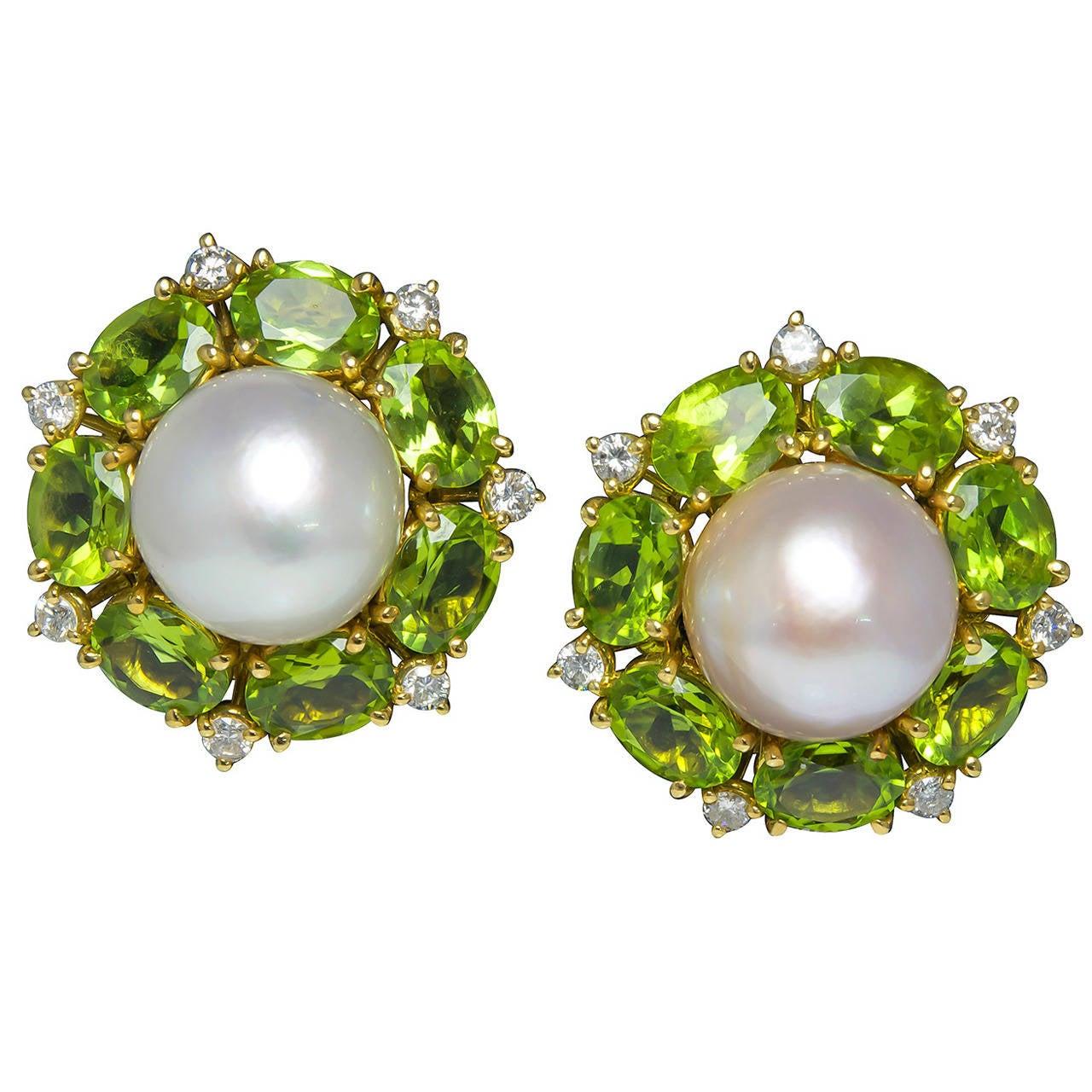 seaman schepps peridot pearl clip on earrings at 1stdibs