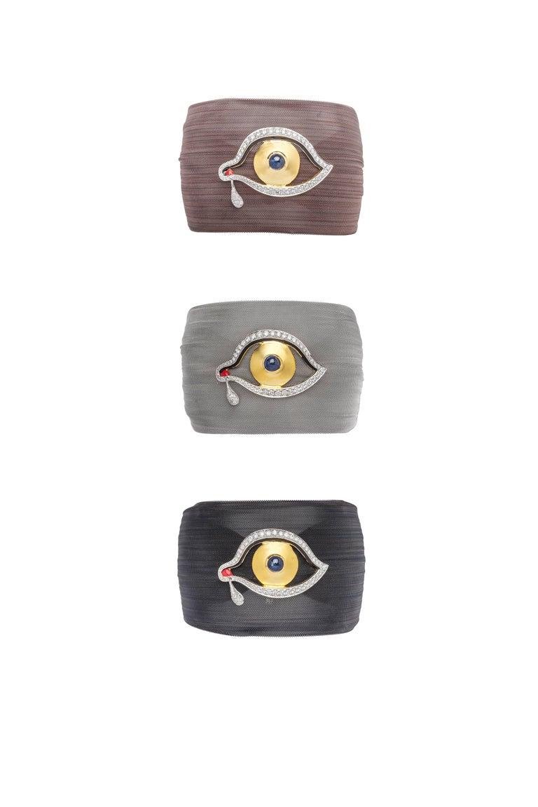 Contemporary Clarissa Bronfman Diamond and Sapphire Black 'Dali Eye Mesh' Bracelet