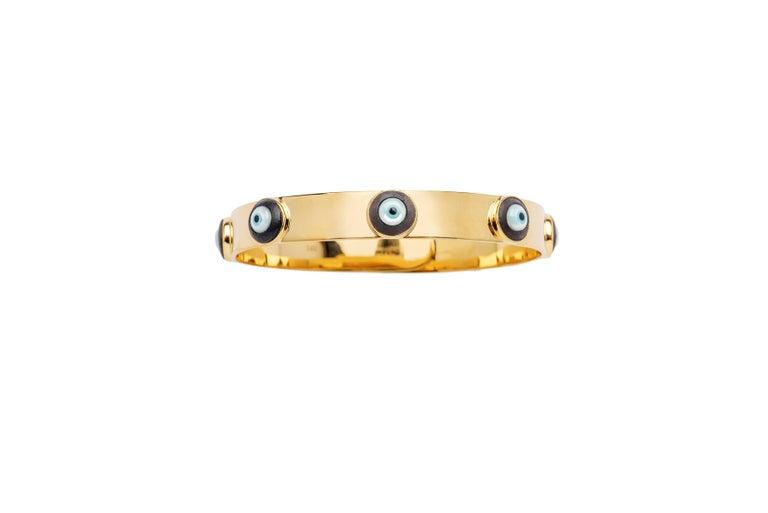 14K Gold with Evil Eyes in Enamel  Price applies to each bracelet
