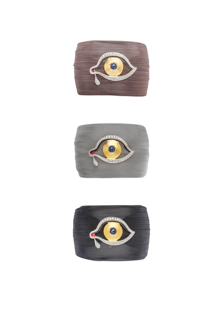 14K Gold with Diamonds, Sapphire, Ruby, Silver and Mesh   Available in Black, Silver and Bronze