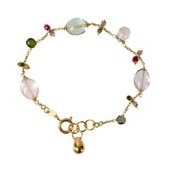 18 Karat Gold Rose Quartz, Prasiolite and Spinel Bracelet