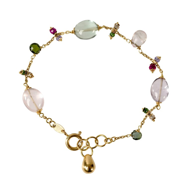 18 Karat Gold Rose Quartz, Prasiolite and Spinel Bracelet