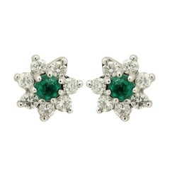 Emerald and White Diamond Star Stud Earrings set in 18kt White Gold