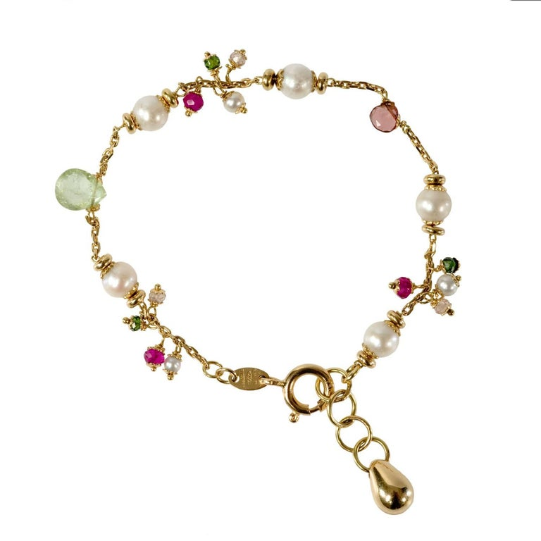 18 Karat Gold White Pearl, Garnet and Spinel Bracelet