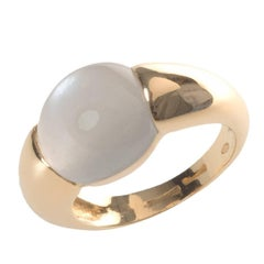 Cabochon Cut Grey Moonstone Set in 18 Karat Yellow Gold Signet Ring