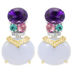 Amethyst, Lavender Chalcedony and White Diamond Drop Cocktail Earrings