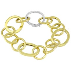 18 Karat Yellow Gold Link Chain Bracelet with White Diamonds
