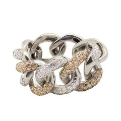 White and Brown Diamond 18kt White Gold Interlocking Link Chain Cocktail Ring