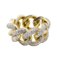 White Diamond 18kt Yellow Gold Interlocking Link Curb Chain Cocktail Ring