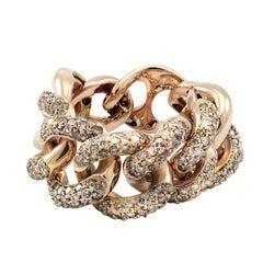 White Diamond 18kt Rose Gold Interlocking Link Curb Chain Cocktail Ring