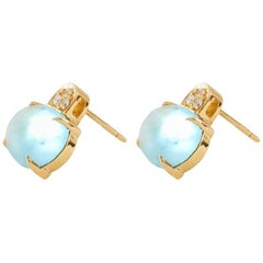 White Diamond and Cabochon Cut Topaz Stud Italian Made Earrings