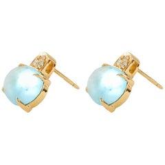 White Diamond and Cabochon Cut Topaz Stud Italian Made Earrings
