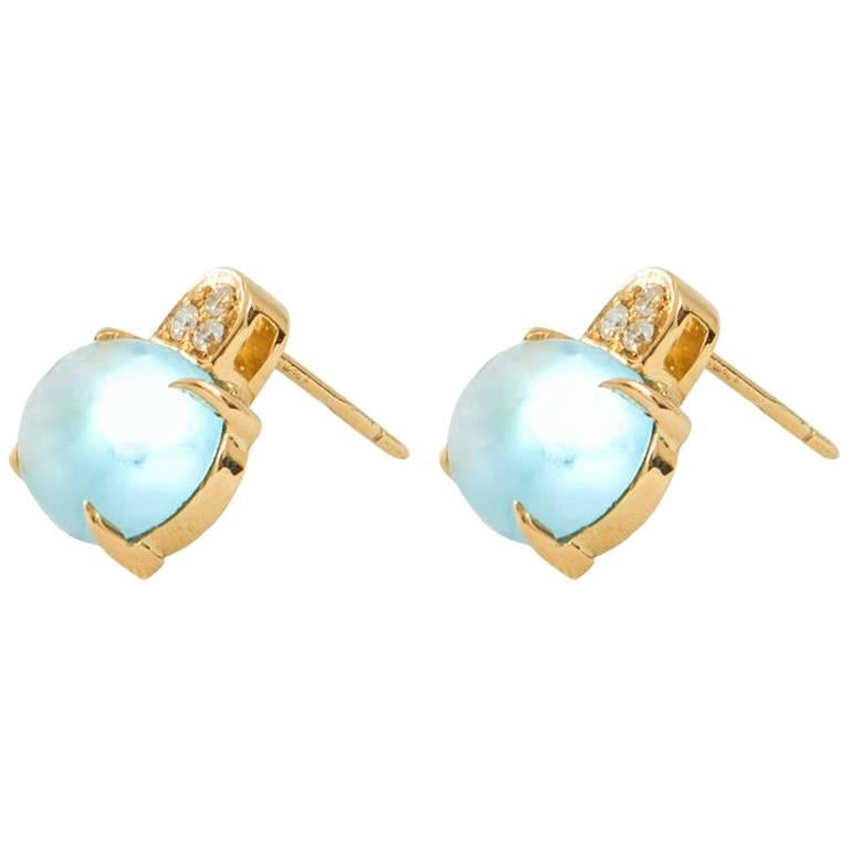 White Diamond and Cabochon Cut Topaz Stud Italian Made Earrings For Sale