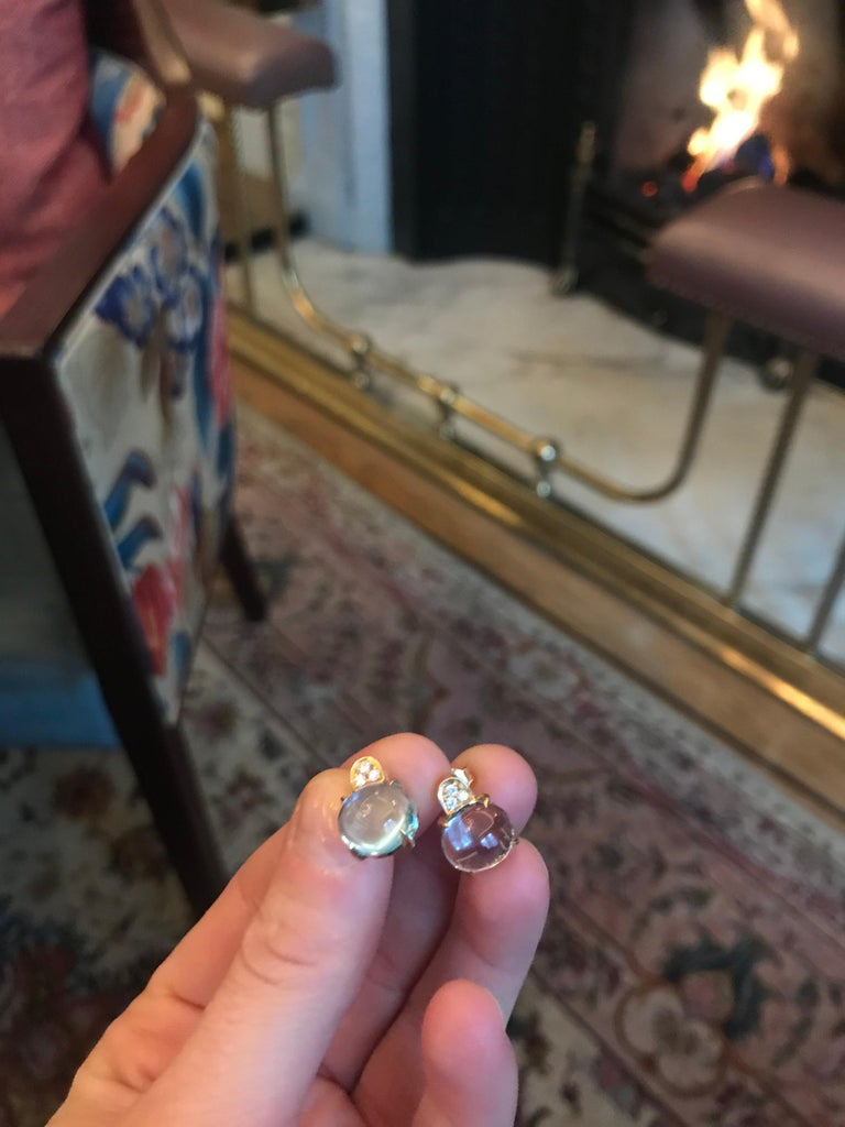 Women's White Diamond and Cabochon Cut Topaz Stud Italian Made Earrings For Sale