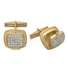 "Wendy Brandes Mechanical Opening Locket ""Poison"" Diamond Pave Gold Cufflinks"