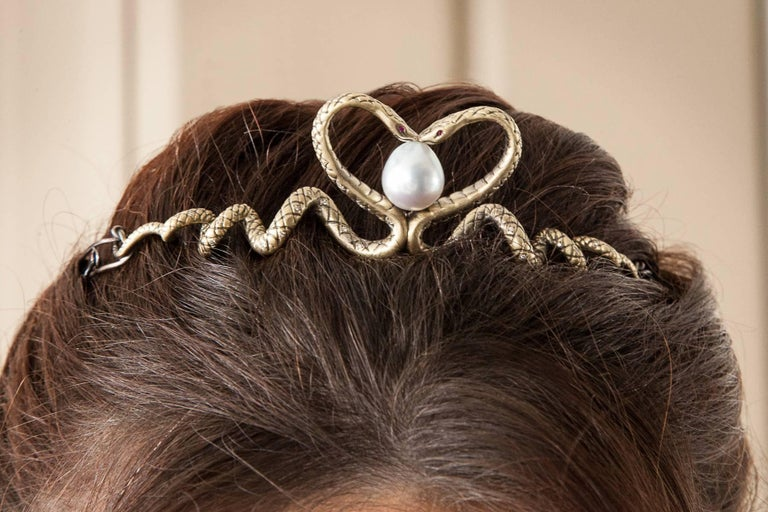 Contemporary Wendy Brandes Diamond and Ruby Yellow Gold Snake Tiara For Sale