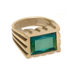Wendy Brandes Signet Style Birthstone Unisex Green Tourmaline and Gold Ring