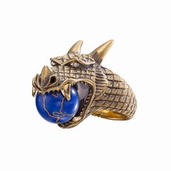 Wendy Brandes Moving Mechanical Globe Dragon Lapis Lazuli Diamond and Gold Ring