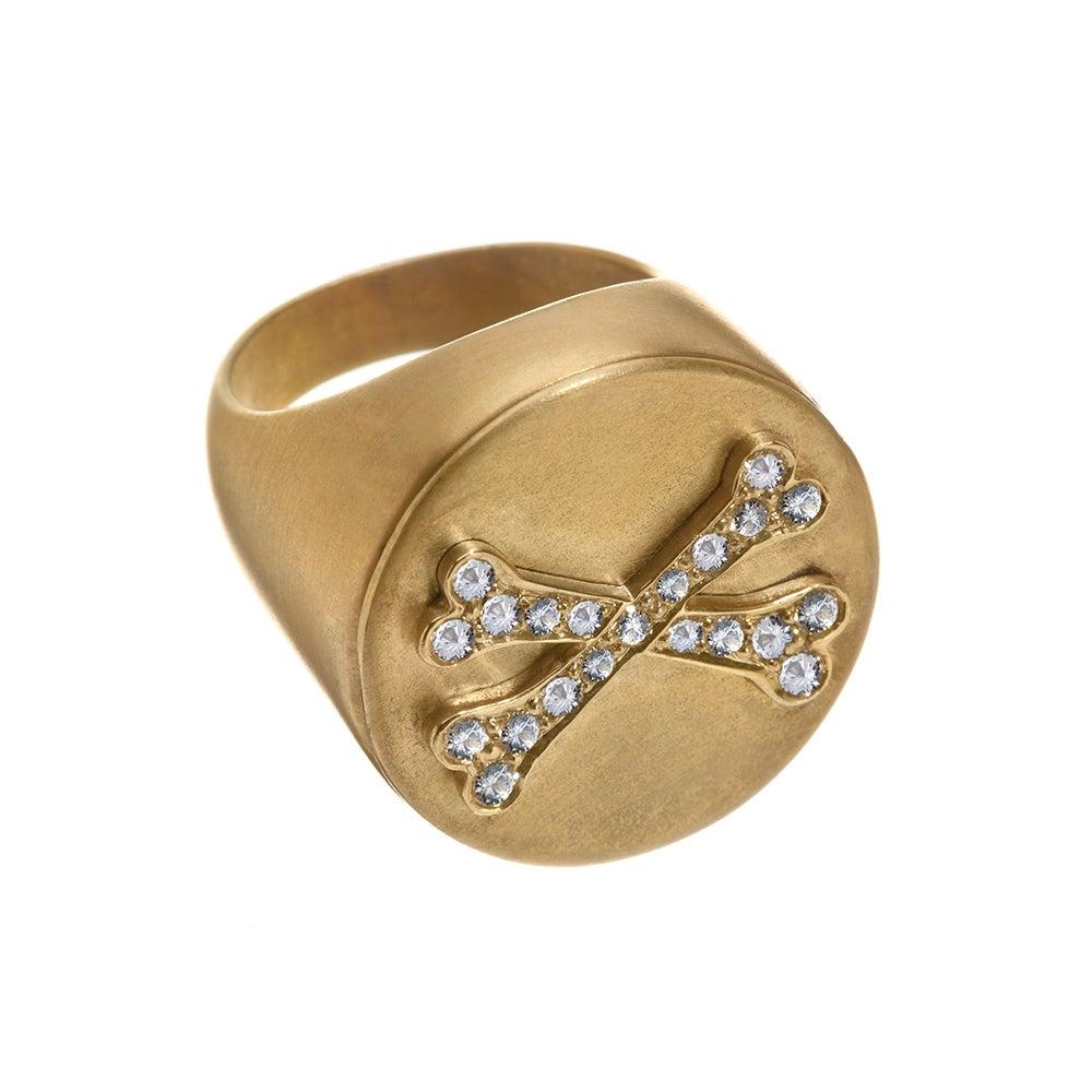 Wendy Brandes Unisex Skull Bones Locket/Mechanical Signet Diamond Sapphire Ring