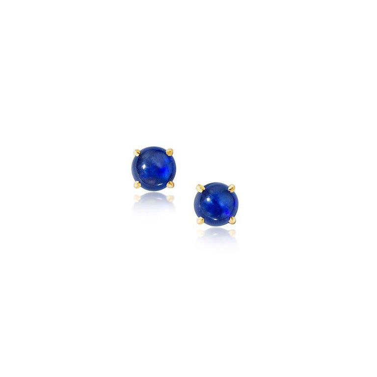 18K yellow gold. 6 mm cabochon blue sapphires. Price is for pair. Made in New York City.  Perfect for the September babe in your life!