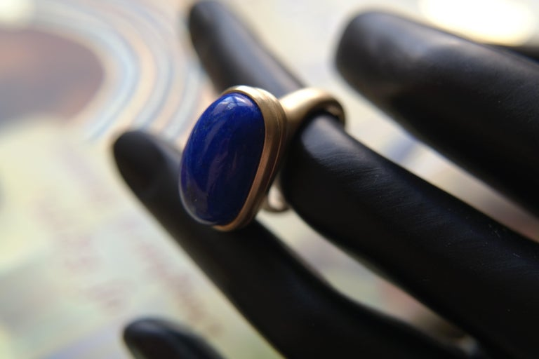 Wendy Brandes Egyptian Mechanical Locket / Poison Lapis Lazuli 18K Gold Ring For Sale 1
