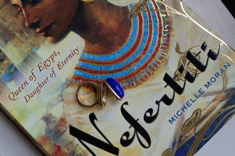 Wendy Brandes Egyptian Mechanical Locket / Poison Lapis Lazuli 18K Gold Ring For Sale 2