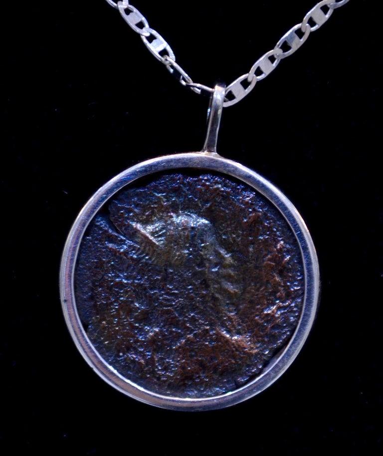 Authentic Roman Coin Silver Necklace In Excellent Condition For Sale In Nuevo Leon, MX