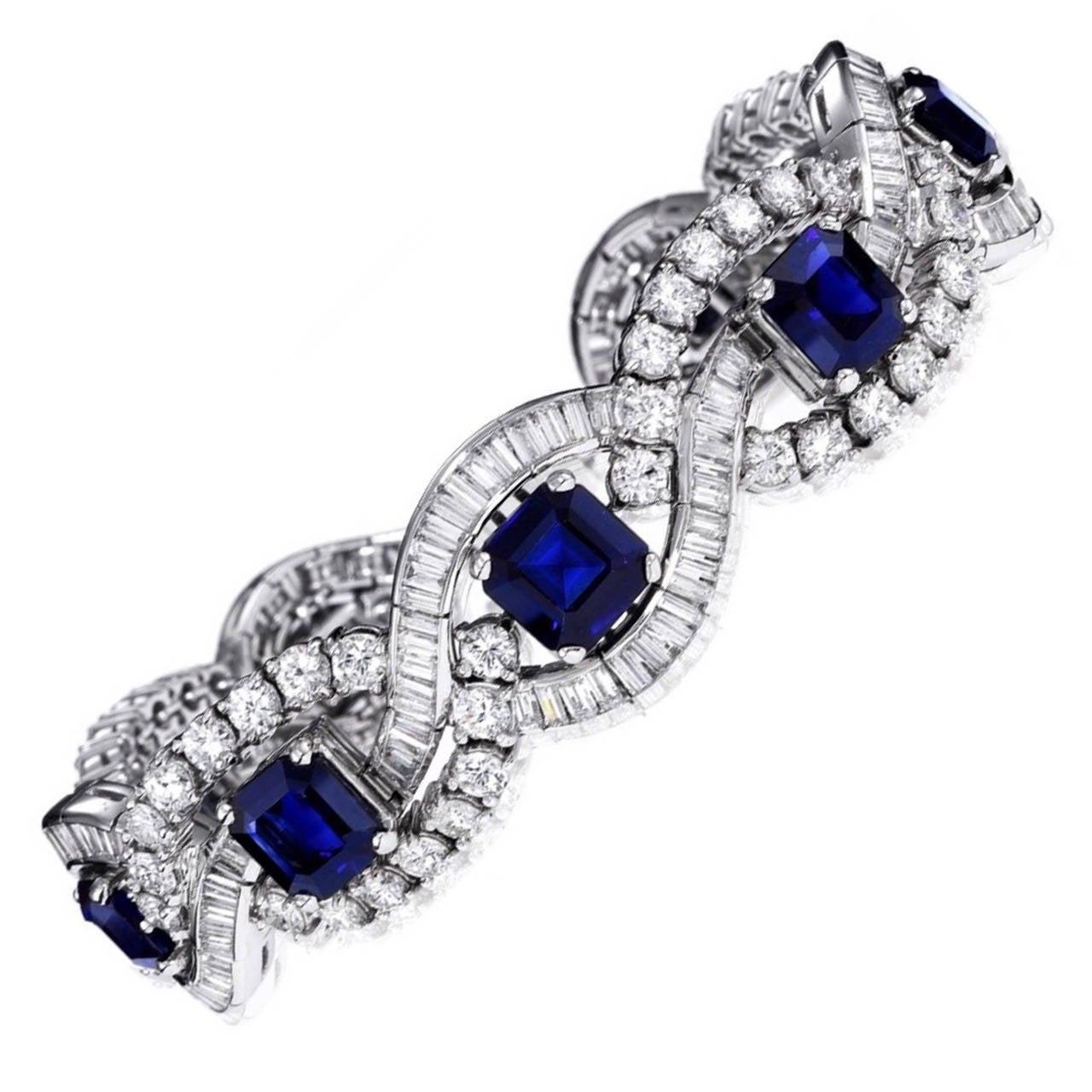 Natural Sapphire Diamond Platinum Bracelet 1