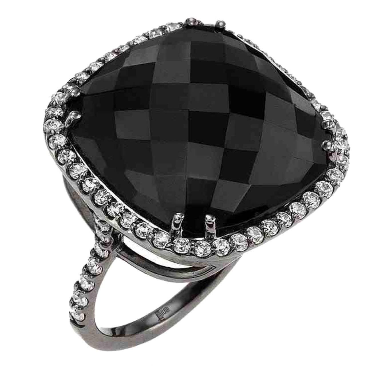 Black Spinel Diamond Gold Ring
