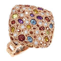 Multi Color Gemstone Diamond Rose Gold Ring