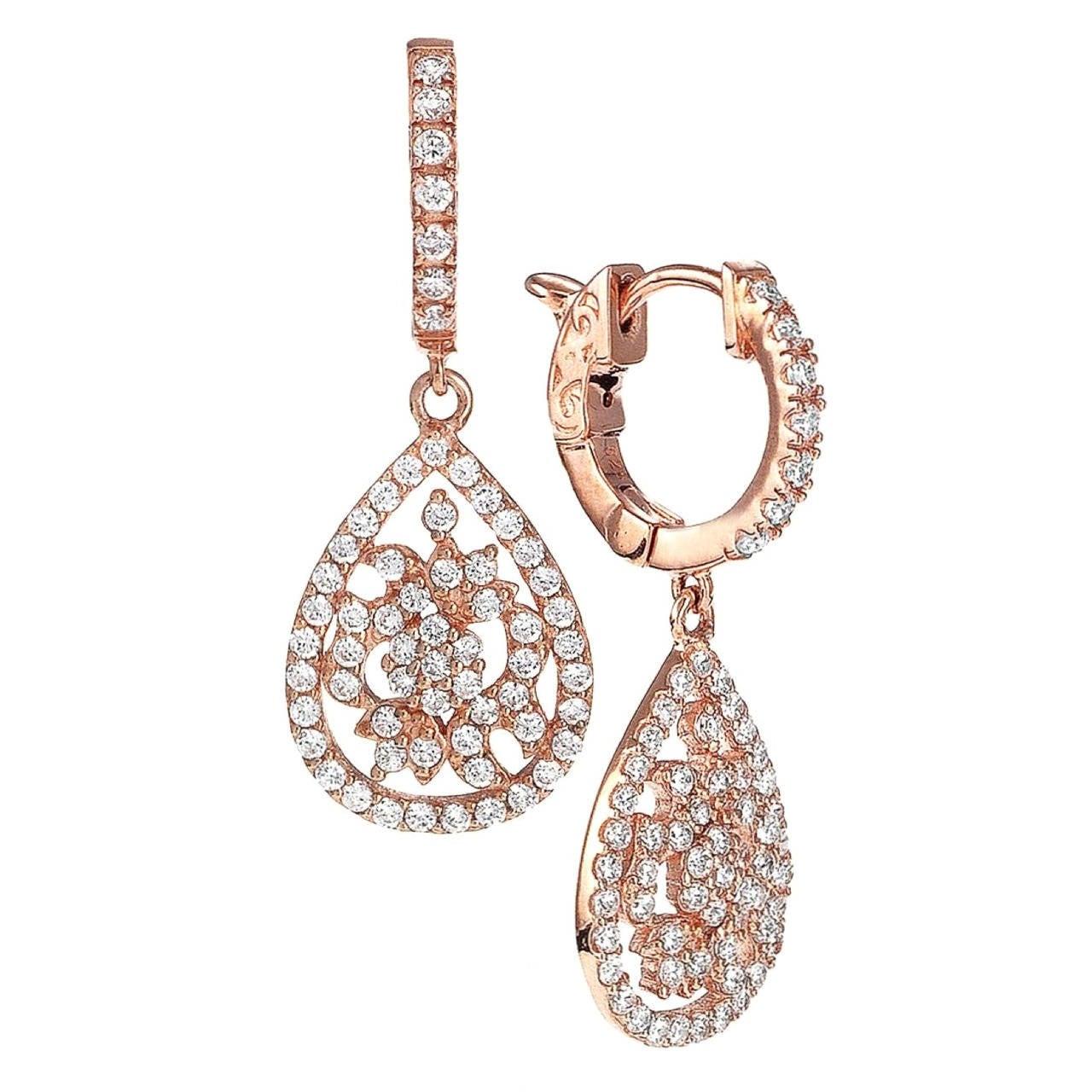 Pear Shape Micro Pave Diamond Earrings At 1stdibs