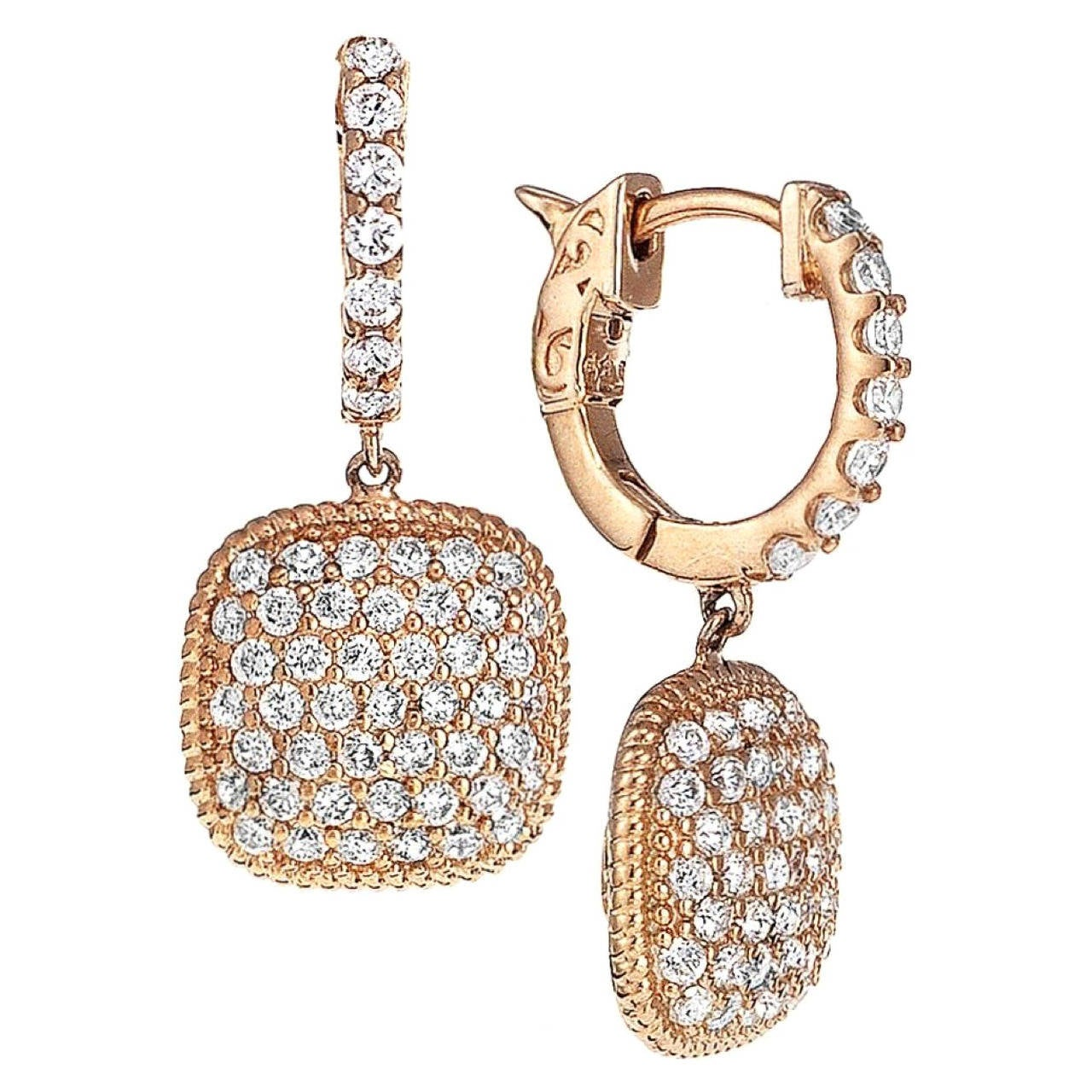 Cushion Shaped Micro Pave Diamond Earrings For Sale At 1stdibs
